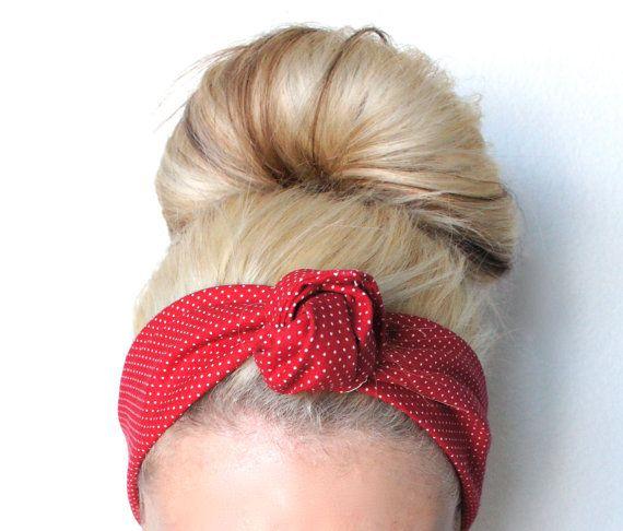 Red Polka Dot Wire Headband, Boho Headband, Dolly Bow Headband, Women's Headband, Baby Headband