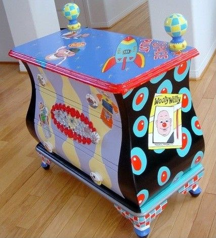 Handpainted Retro Toys Chest By Mary Mollica The Decorative Paintbrush