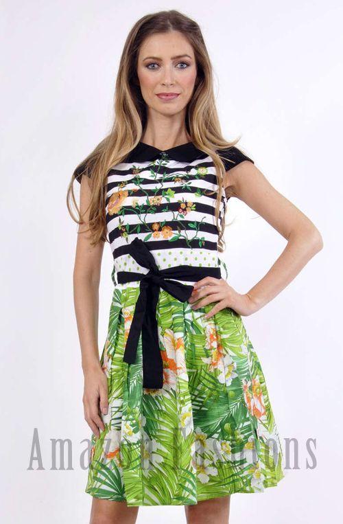 Savage Culture Cap Sleeve Green Floral Dress