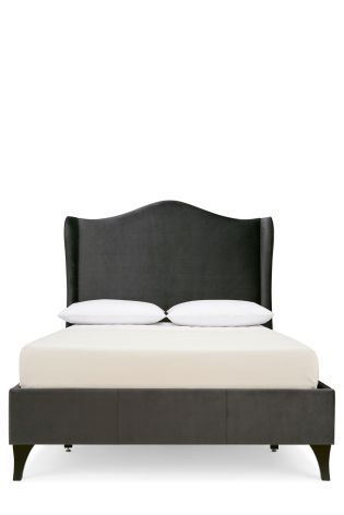 Buy Sloane Charcoal Plush Velvet Bedstead from the Next UK online shop