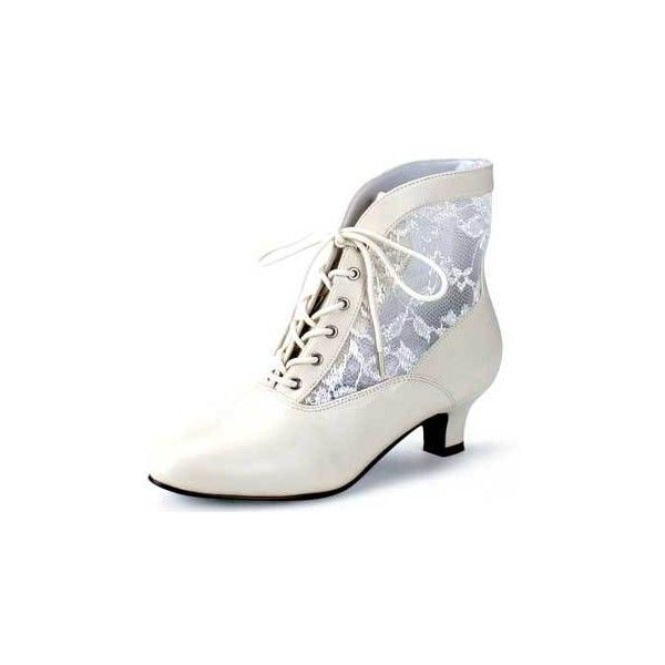 Ankle Hi Boot Ivory Vintage Boot Victorian Boot Costume Dame-05 :... ❤ liked on Polyvore featuring shoes, boots, ankle booties, zapatos antiguos, white winter boots, vintage boots, ivory boots, victorian boots and ivory booties