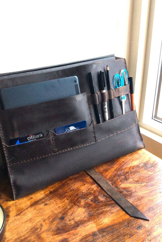 Dupont portfolio case, handmade leather bag, large envelope portfolio, leather folio with ID, pen, tablet pocket, handmade leather organizer. For more handmade leather portfolios, iPad case with notepad, custom leather portfolios, and leather pad folios click here: http://etsy.me/1eDx1L0.  This multifunctional large leather portfolio is sewn our of one piece of expresso leather and double stitched with brown thread and has room for almost everything. This handmade portfolio cas...