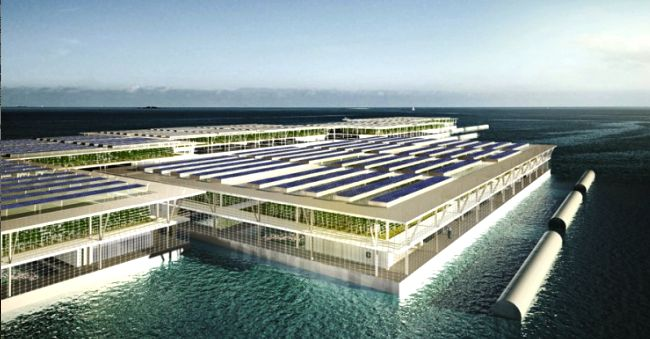 SOLUTIONS - let's see the governments of the world transform their defense budgets and instead of buying and producing weapons care and feeds its populace - jobs, food, sustainability #environment #hydroponics #solar #floatingfarm Giant Solar Floating Farm Could Produce 8,000 Tons of Vegetables Annually