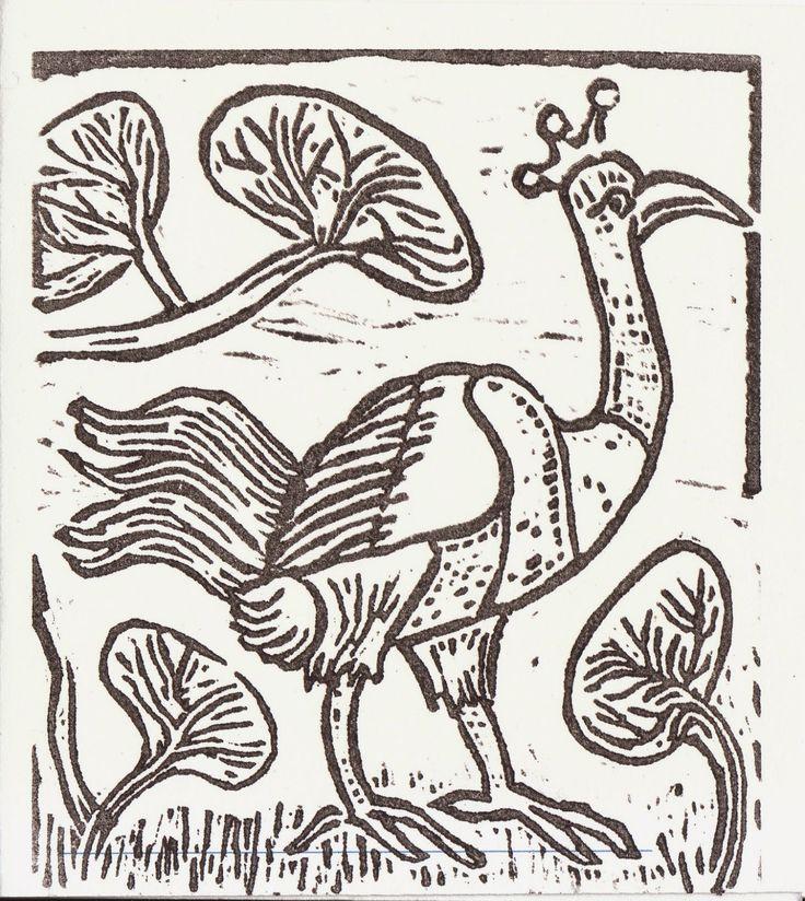 Beeldende verbeelding linosnede paradijs vogel