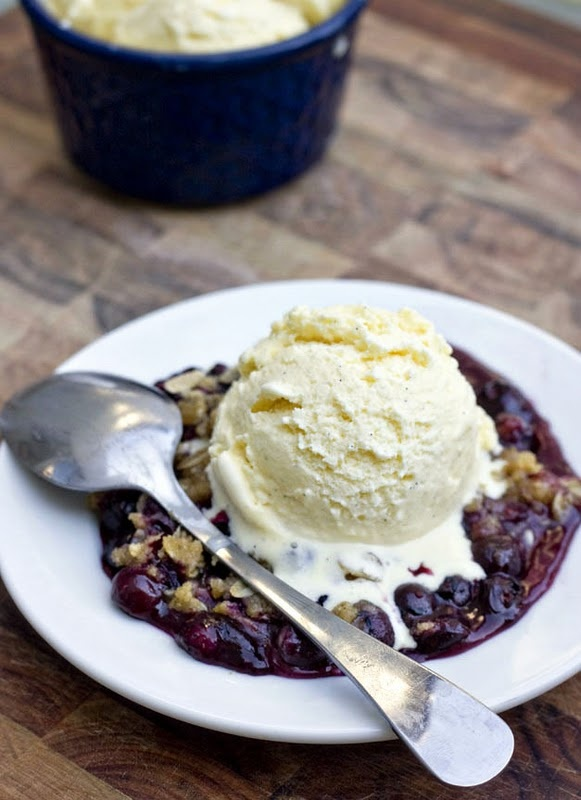 homemade vanilla bean ice cream and blueberry cobbler