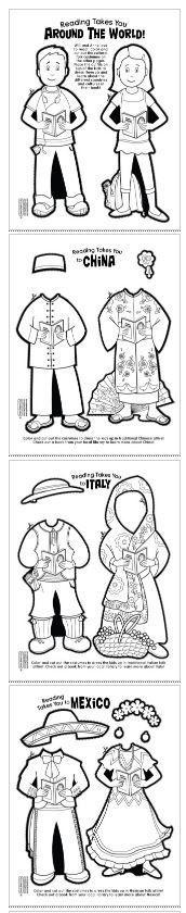 Muñequitas de papel con unos disfraces de países distintos.