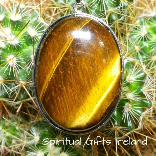 Handmade Tiger's Eye Pendant Visit our store at www.spiritualgiftsireland.com  Follow Spiritual Gifts Ireland on www.facebook.com/spiritualgiftsireland www.instagram.com/spiritualgiftsireland www.etsy.com/shop/spiritualgiftireland	 We are also featured on Tumbler  Boasting both the colours of the earth and the sun, Tiger's Eye was highly regarded throughout history as a powerful protector granting the wearer the clairvoyant ability to see what was coming next.  An all seeing, all knowing…