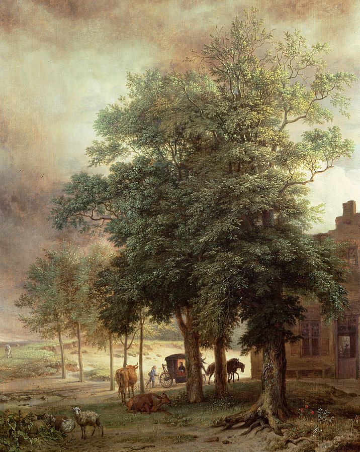 Landscape With Carriage Or House Beyond The Trees Painting