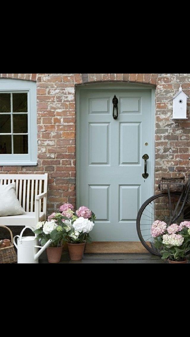 Duck egg blue front door. Love!