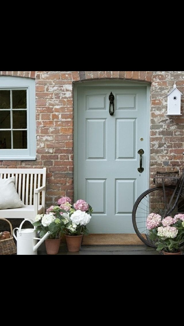 Duck egg blue front door. Love!