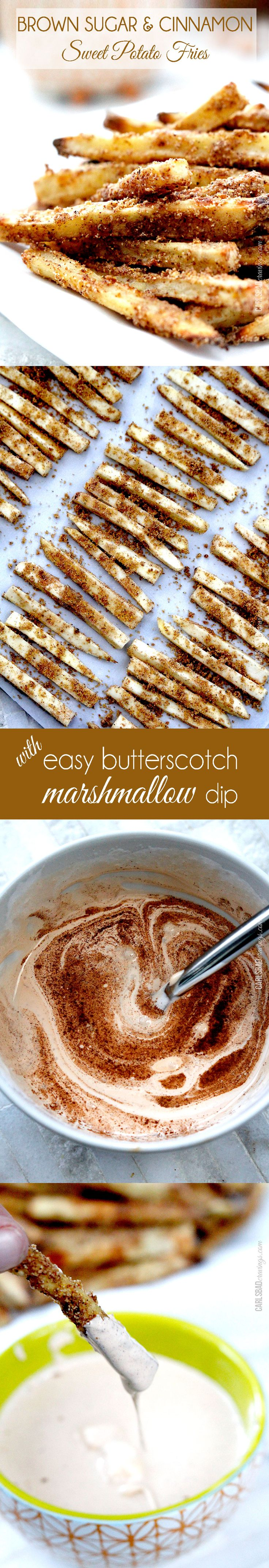 Easy, delicious healthy snack or side - OR make these fries a fun dessert or appetizer with the easy AMAZING butterscotch marshmallow dip. You won't be able to stop eating these!