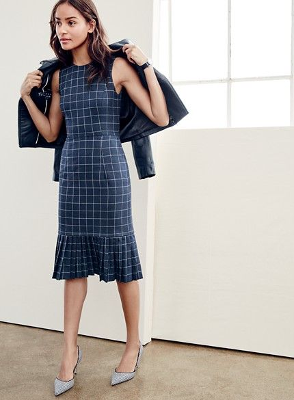 "Pleated windowpane [sheath] dress | J.Crew Fall2106 | menswear-inspired windowpane check with a swishy pleated hem | fitted silhouette, falls below knee, 41 1/4"" from high point of shoulder (based on size 6) 