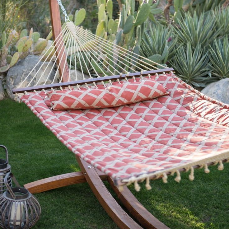 Island Bay 13 ft. Tuscan Lattice Quilted Hammock with Russian Pine Wood Arc Hammock Stand - ALZ1041-1