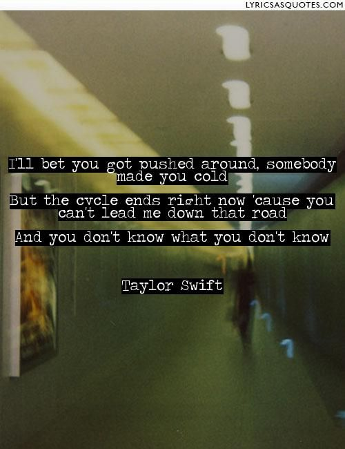 Taylor Swift Mean: I'll bet you got pushed around, somebody made you cold But the cycle ends right now 'cause you can't... - Lyrics As Quotes