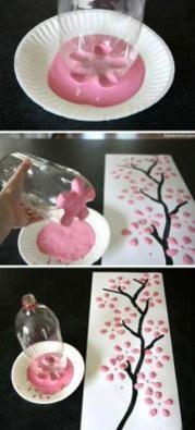 Cherry blossom tree with 2 liter bottle