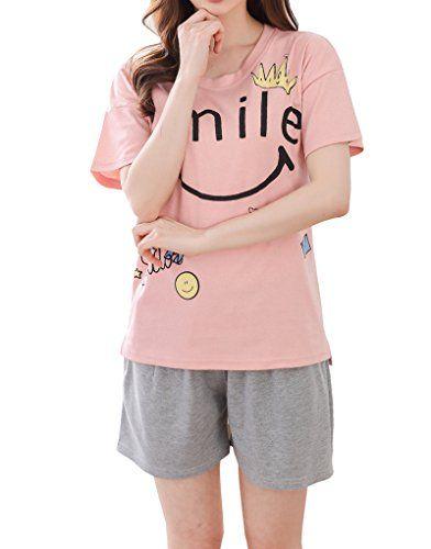 56cc7e4a3c Vopmocld Big Girls' Cute Short Sleeve Loungewear Smile Printed Pajama  Sleepwears