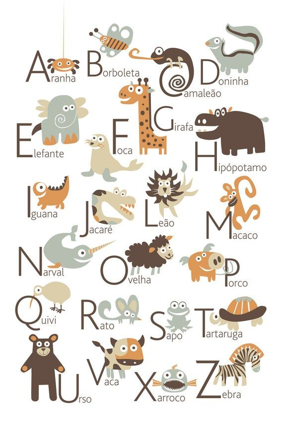Portuguese Alphabet Poster With Animals From A To Z Big Etsy Alphabet Poster Alphabet Animal Alphabet