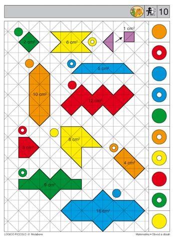 Soubor Logico Piccolo - Matematika Obvod a obsah Vhodné pro děti od 7 - 9 let ISBN 978-80-87, 16 různých karet * Obrazce ztyčinek – určování počtu tyčinek, které ohraničují