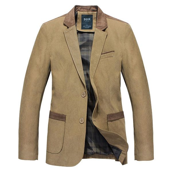 Mens Autumn Winter Casual Stitching Jacket Slim Fit Single-breasted Business Blazer at Banggood