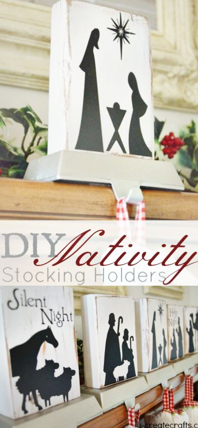DIY Nativity Stocking Holders - or make a wooden child-proof nativity set!