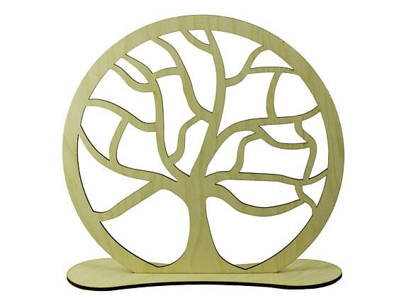 Family tree wooden holder engraved - lasercut - jewelry stand - nature - decoration - wood art