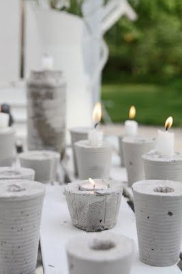Concrete candle holders from using cups