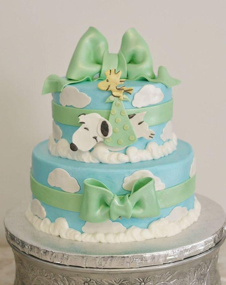 Snoopy baby shower cake www.kittiskakes.com