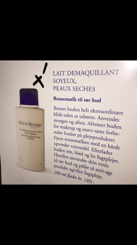 Beauté pacifique: rensemælk til tør hud, lait demaquillant soyeux, peaux seches (kan købes i Matas)