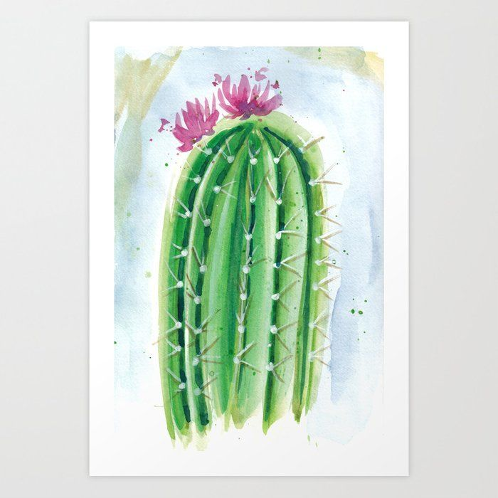 Cute Little Cactus With A Pink Flower Watercolor Art Painting By Veronica Zubek Flower Prints Art Flower Art Cactus Painting