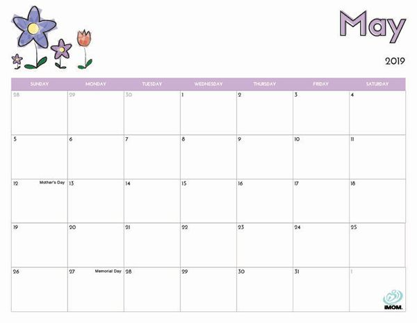 photo relating to Printable Calendar for May referred to as 2019 Absolutely free Printable Calendar for Little ones 2019 Absolutely free
