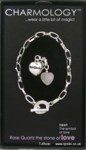 LOVE, Rose Quartz Classic Chain Charm Bracelet.