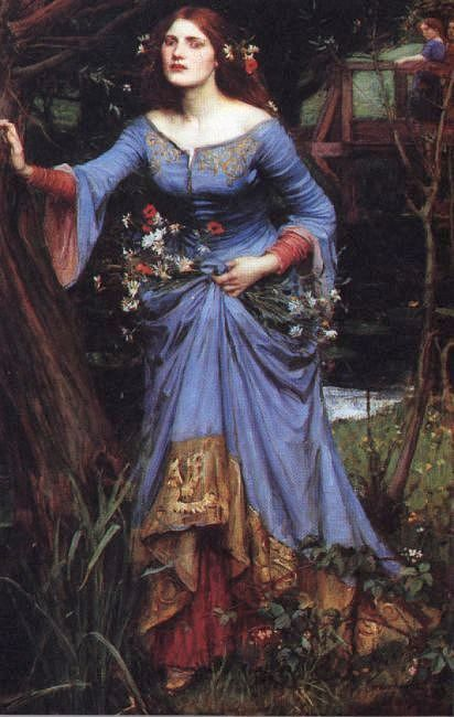 "John William Waterhouse, Ophelia, 1910 Oil on canvas 100.3 x 62.2 cm © 2003 Collection Lord Lloyd-Webber http://arts.guardian.co.uk/pictures/image/0,8543,-10604749279,00.html  (""One who is patient glows with an inner radiance.""   ― Allan Lokos, Patience: The Art of Peaceful Living by Hennelie: Thx)"