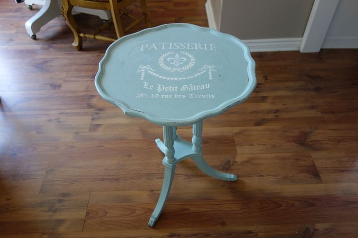 occasional table in patina fossil paint