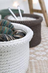 OHJE: Virkattu kori (diy crochet, basket)