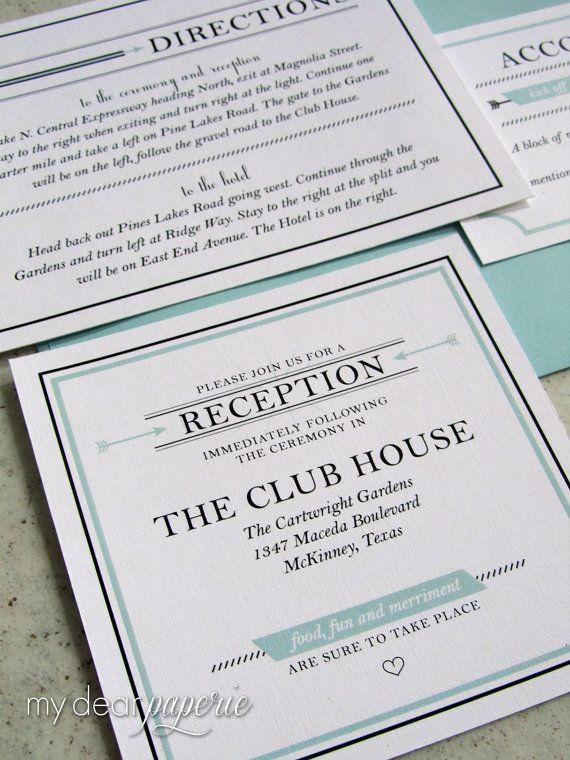 Mint wedding invitation sea foam wedding by mydearpaperie on Etsy,
