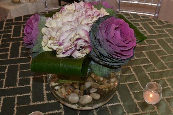 Purple hydrangea with ornamental cabbage centerpiece