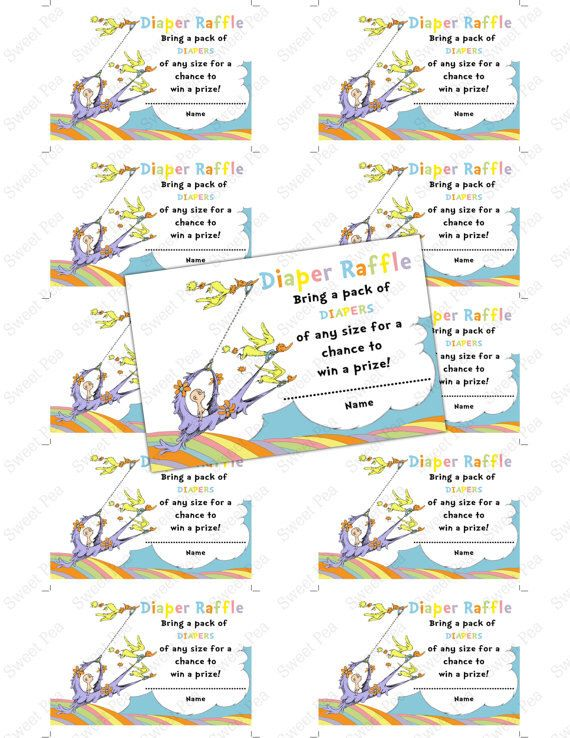Doctor Seuss Oh, Baby, the Places You'll Go! Baby shower diaper raffle ticket – …