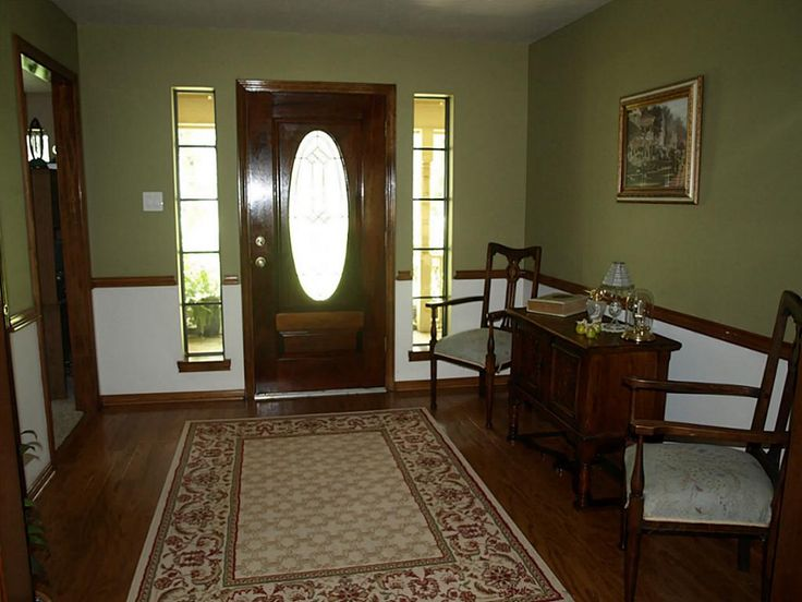 dining room colors with chair rail | For dining room - stained wood chair rail, tan color walls ...
