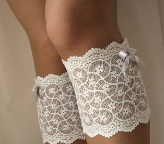 Lace Boot Cuff Socks Ivory on grey with light by VANAGScreative
