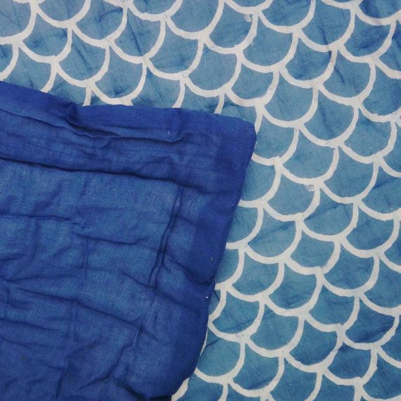Vintage Kantha indgo Hand gestikt Quilt, 100% Indische katoen, Boheemse Boho afgedrukt blauw wit Coverlet KONINGIN blokgrootte, IKQ #07