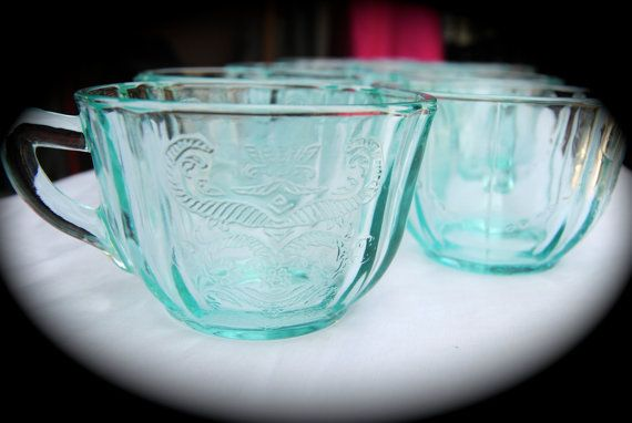 Depression Glass//Teal//Cups//Tea Cups//Madrid by VISIONAGE