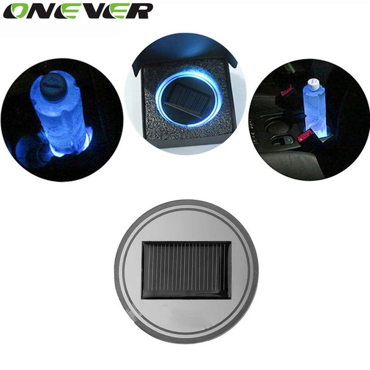 Like And Share If You Want This 2 Pack Universal Solar Ed Led Light Up Cup Coaster Blue Anti Slip Bottle Mat Pad Car Interior Décor