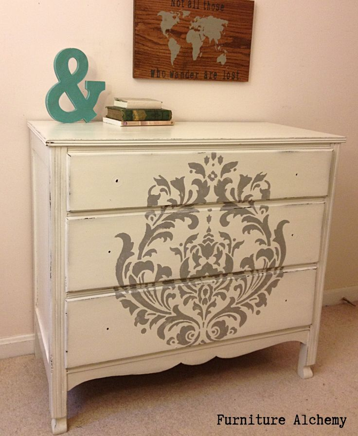 White And Grey Damask Stenciled Dresser By Furniture