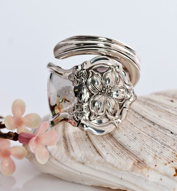 Vintage Spoon Ring Orange Blossom Spoon Ring 1910 by mcfmiller