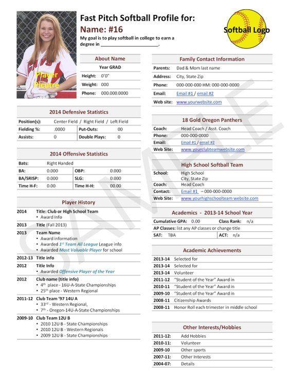 softball team profile template