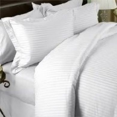 Egyptian Cotton Factory Outlet Store Luxurious White Damask Stripe Queen Size 1000 Thread Count Ultra Soft Single-ply 100 Egyptian Cotton Extra Deep Pocket Four 4 Piece Bed Sheet Set with 2 Pillow Cases1000tc Queen
