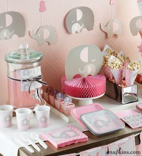Our beautiful Little Peanut Girl ensemble is just a perfect theme to welcome arrival of the new baby girl in an absolutely feminine look. The collection consists of high quality party supplies and decorations for catering a girl's baby shower party. Adorable elephants have pink-striped ears and are bordered by pink polka dots. In this collection, you will find everything you need to plan a successful baby shower for girls.#babyshower