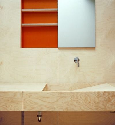 Ply - slope sink with hinged, concealed mirror door