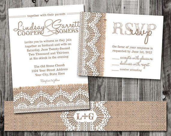 Burlap & Lace Wedding Invitation