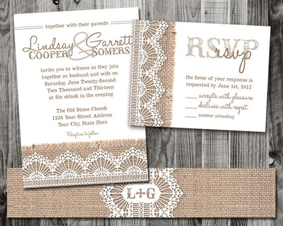 Printed Burlap & Lace Wedding Invitation Suite  by lifewelllived, $7.00